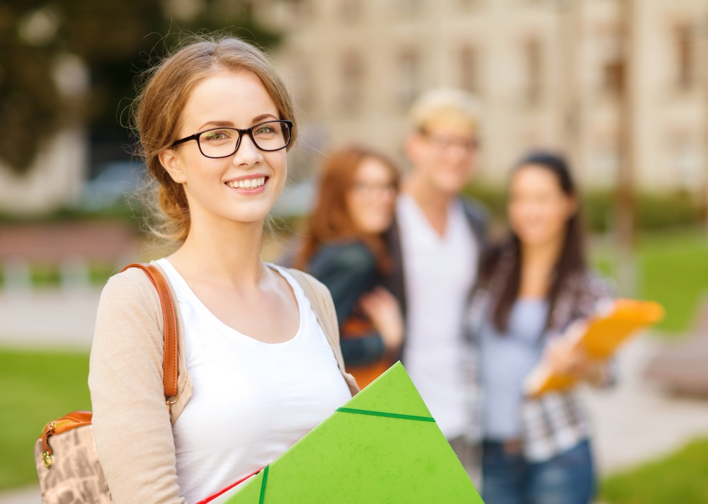 summer holidays, education, campus and teenage concept – smiling