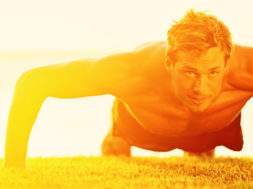 Sport fitness man push-ups. Male athlete exercising push up outs