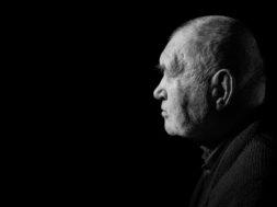 Sad Elderly Gray Man