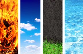 Collection of banner with nature elements – water; ground; air a