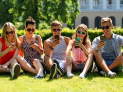 friendship, leisure, summer, technology and people concept – gro