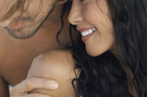 Closeup of romantic young couple spending time together